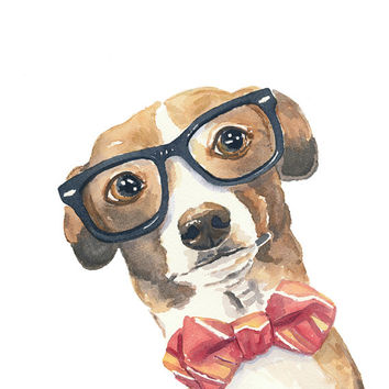Dog Watercolour PRINT - Italian Greyhound, Nerd Glasses, 8x10 Painting Print
