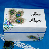Hand Painted Recipe Box Decorative Wood Recipe Card Box Peacock Personalized 4x6