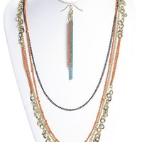 Dangle Chain Necklace Coral