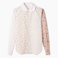 Round Collar Floral Combo Shirt