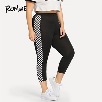 Romwe Sport Plus Size Black Gingham Checkered Women Fitness Running Pants 2018 Gym Sweatpants Sport Yoga Female Jogging Leggings