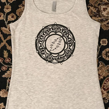 SALE! Grateful Dead women's tank top yoga mandala screen print Jerry Garcia Bob Weir Phil Lesh Mickey Billy Phish