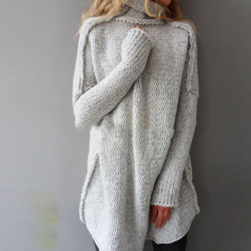 Fashion Women Autumn and Winter Casual Gray Irregular Pullover Turtleneck Sweater +Free Gift Christmas Gift Random Necklace