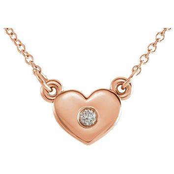 Tiny Heart Diamond Necklace - 14k Gold
