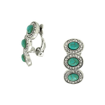 Turquoise and Sparkle Clip On Earrings in Silver