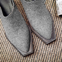 Summer Wool Square Toe With Heel Shoes [4920626884]