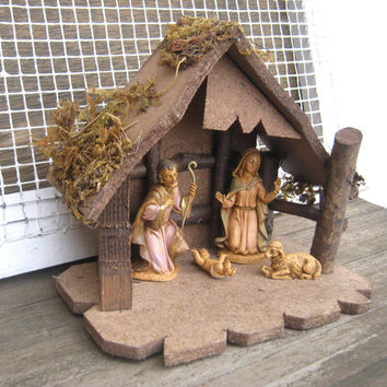 Beautiful Rustic Creche - 1970s Vintage Fontanini Nativity Set - Jesus, Mary, Joseph & Lamb Nativity Figures; Rustic Manger