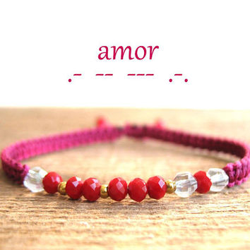 AMOR morse code bracelet, love, girlfriend gift, anniversary for wife, Valentines day, Friendship Jewelry, dainty, inspiration, remembrance