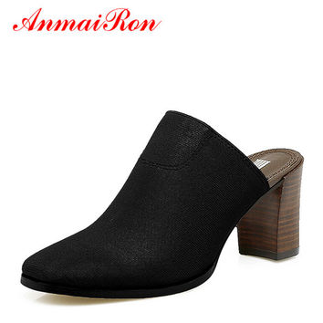 ANMAIRON Slingback Chunky Heels Shoes Woman High Heels Mules Shoes Women Square Toe Stretch Fabric Slippers Women Summer Pumps