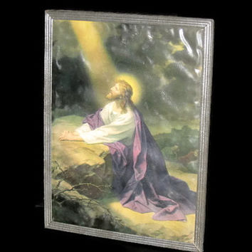 Vintage Tin Framed Jesus Print, Home Decor, Collectible, Wall Hanging, Religious Framed Print, Tin Frame, Jesus Framed Print, Collectible