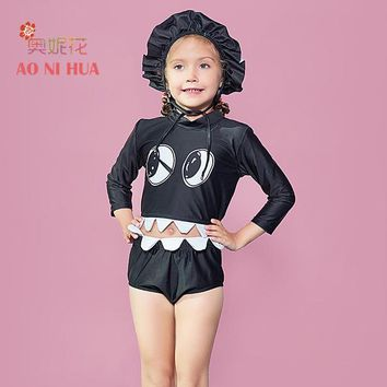 Childrens Swimsuit Cute AONIHUA 2017 Designer Creative funny Girls Two piece  kids Professional swimwears Children Animal black bathing suits KO_25_2