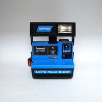 Rare Blue Norton Let's Talk Shop Polaroid 600 Camera! Uses Impossible Project Film / 600 Film