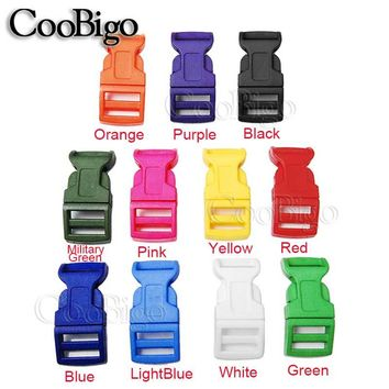 "1pcs Pack Colorful 5/8"" Side Release Buckles Curved Plastic Paracord Bracelets Dog Collar Backpack Bag Parts #FLC009(Mix-s)"
