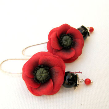 Red Poppy Poppy Earrings Red Earrings Poppy Jewelry Dangle Earrings Handmade Earrings Polymer Jewelry Flowers Red Black Gift For Her