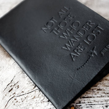 Black Not All Those Who Wander Passport Cover