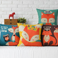 Cute cartoon fox Pillows For Sofa Scandinavian style Cushions Home Decor Personalized hand-painted color Decorative Pillow