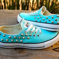 Studded Converse - Tiffany Blue Converse Low Top that look like Vans