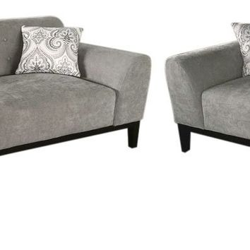 Marquee Tufted Back Sofa & Loveseat 2PC Set in Moonstone Fabric with Accent Pillows