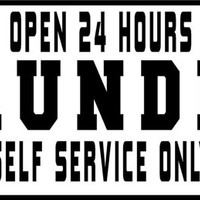 Laundry room open 24 hours self service only vinyl decal lettering, home wall decor