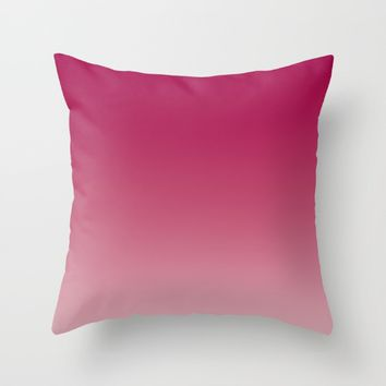 Deep Rose Ombre (Reverse) Throw Pillow by Lindsay