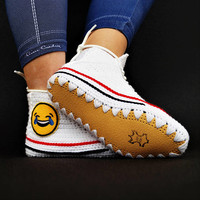 Handmade Crochet Smiley Custom Converse Home Slipper, Fancy Emoji Converse, Custom Converse Sneakers, Crochet House Shoes, Knitted Slippers
