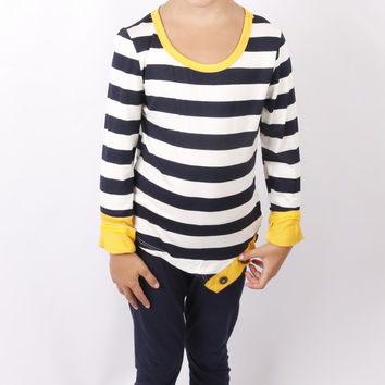 Triple Button Striped Top