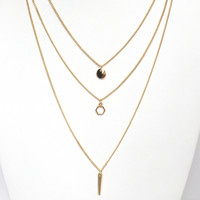 Geometry Layered Necklace Set In Gold