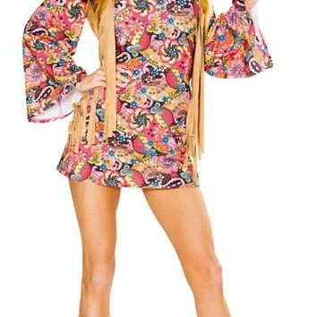 Sexy Flower Power Hippy Cutout Mini Dress with Faux Fur Fringed Vest Set
