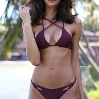 ACACIA Swimwear 2017 Okinawa Top in Merlot- Large
