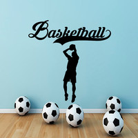 Wall Decals Basketball Decal Vinyl Sticker Athlete Decor Sports Hall Home Interior Design Bedroom Window Gym Sport School Art Murals MN464