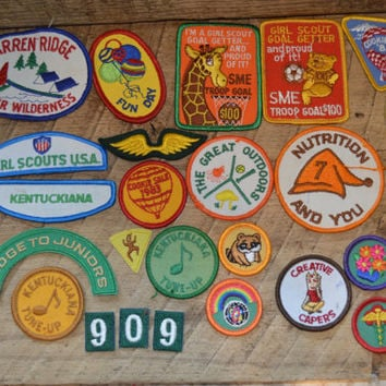 Vintage Girl Scout Patches Lot includes 27 Patches , Kentucky Girl Scouts , 1983 Cookie Sale , Vintage Patches, Juniors, Wings,