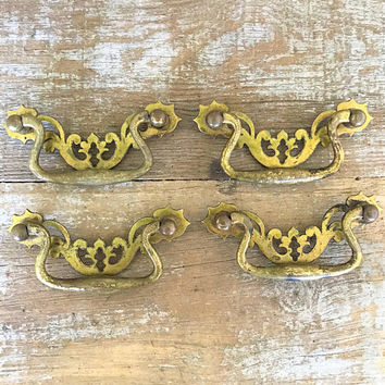Drawer Handles 4 Chippendale Handles Brass Handles Dresser Handle Cabinet Door Pulls Decorative Handle Home Improvement Mid Century Hardware