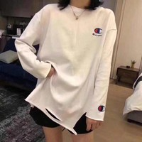 """""""Champion"""" Women Casual Simple Embroidery Logo Long Sleeve T-shirt Tops"""