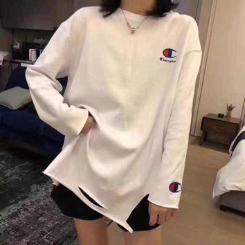 """Champion"" Women Casual Simple Embroidery Logo Long Sleeve T-shirt Tops"