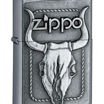 Zippo Bikers Punk Rock Bull Skull Head Emblem Street Chrome Cigarette Lighter
