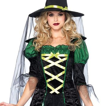 Emerald Witch Black Green Elbow Sleeve Sheer Mesh Ruffle Lace Up Glitter Flare A Line Dress Halloween Costume
