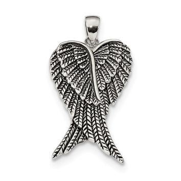 925 Sterling Silver Rhodium Plated Antiqued Angel Wing Shaped Pendant
