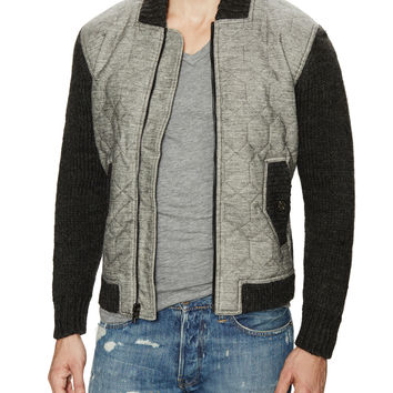 7 for All Mankind Men's Quilted Front Bomber Jacket - Black -