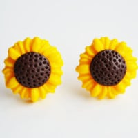Sunflower Stud Earrings, Fimo, Polymer Clay