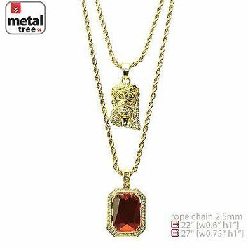 "Jewelry Kay style Men's 14k Gold Plated Jesus & Red Ruby 22"" 27"" Combo Pendant Necklace MHC 209 G"