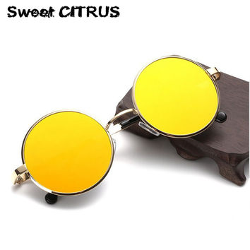 Sweet CITRUS Fashion Round Sunglasses Women Men Vintage metal Mirror Sun glasses Female 2017 oculos de sol masculino feminino