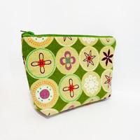 Cotton Zipper Pouch Medium Pouch Cosmetic Bag Pencil Case - Retro Dots in Olive and Taupe