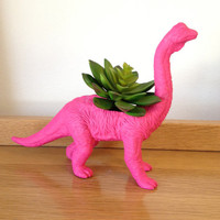 Up-cycled Large Sized Pink Apatosaurus Dinosaur Planter