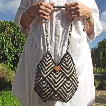 Black Cream Knit Purse, Lined Black Artisan Purse, Handspun Knit Boho Bag, Black Stripe Tote, Knit Alpaca Shoulder Purse, Two Cord Handles