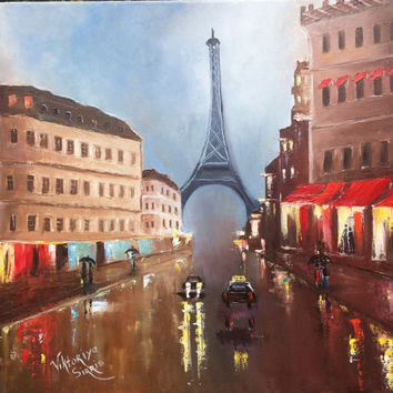 FREE SHIPPING Rainy Paris sityscape originally hand painted stretch canvas pallet knife technic oil paint gift for wedding holidays or other