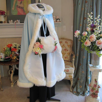 Frozen Ice Princess Bridal Cape Powder Blue / Ivory Satin 45 inch with Fur Trim Knee-Length Wedding Cloak Handmade in USA