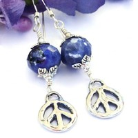 Rustic Sterling Peace Sign Earrings, Blue Sodalite Artisan Handmade Jewelry