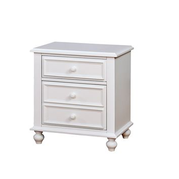 Wooden Night Stand With 2 Drawers, White