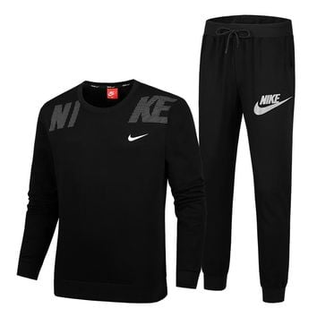 NIKE Autumn And Winter New Fashion Letter Hook Print Couple Sports Leisure Long Sleeve Top And Pants Two Piece Suit Black