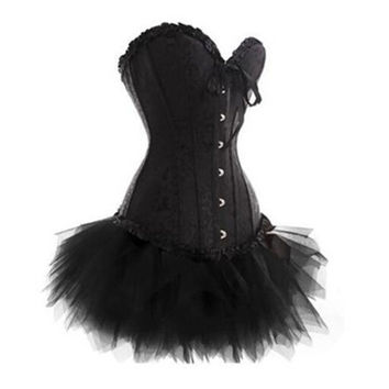 Hot Sale Women Burlesque Corset & tutu /skirt Fancy dress outfit Halloween Costume High Quality S-6XL = 1958223556
